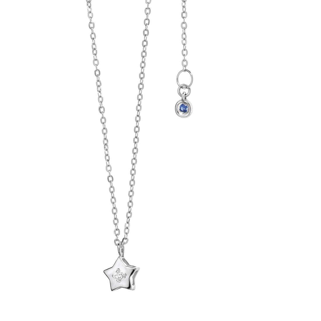 collana comete gioielli oro bianco pendente stella diamante zaffiro blu