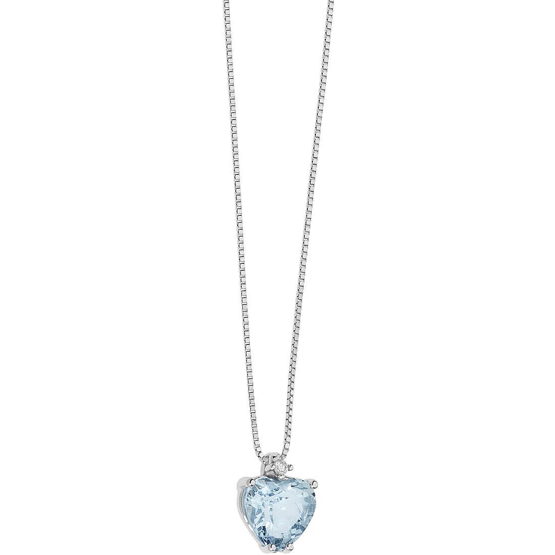 collana comete oro bianco acquamarina taglio cuore diamante
