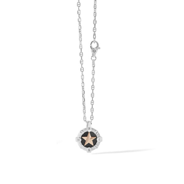 collana comete uomo argento pendente stella polare trattata rosè