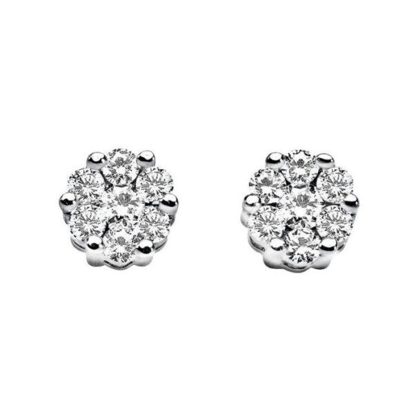 orecchini comete oro bianco rose diamanti