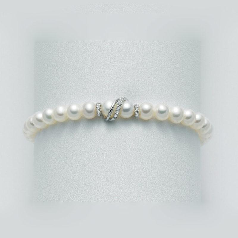 bracciale miluna perle oro bianco dettaglio diamanti