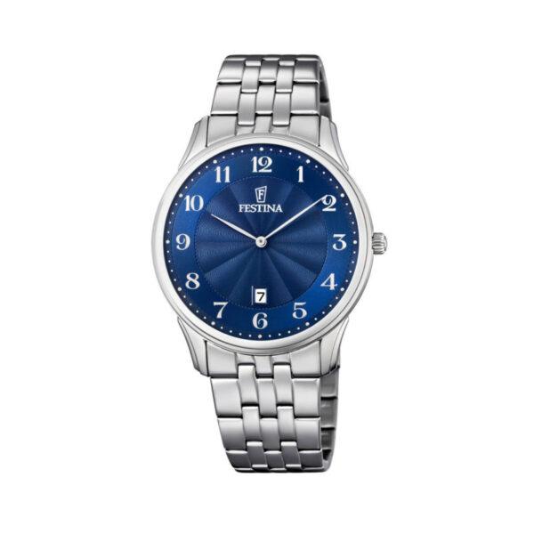 orologio festina uomo ultrapiatto acciaio quadrante blu data