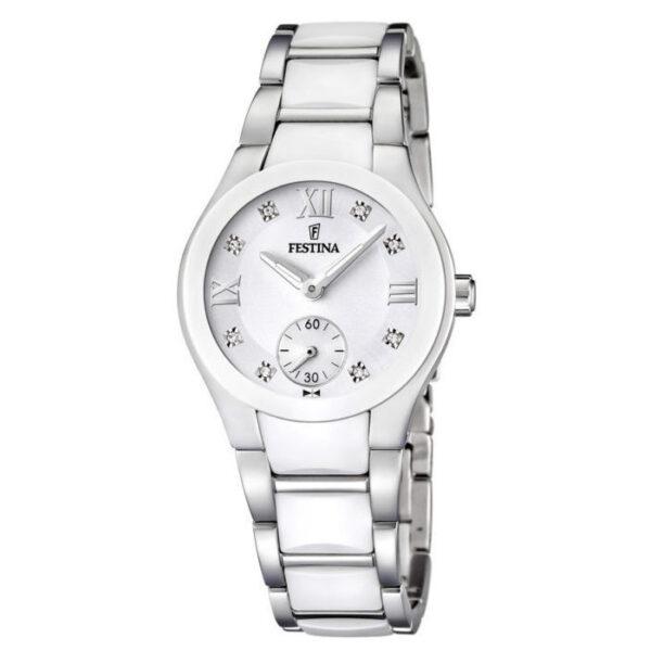 orologio festina donna in acciaio e ceramica bianca con quadrante bianco con zirconi