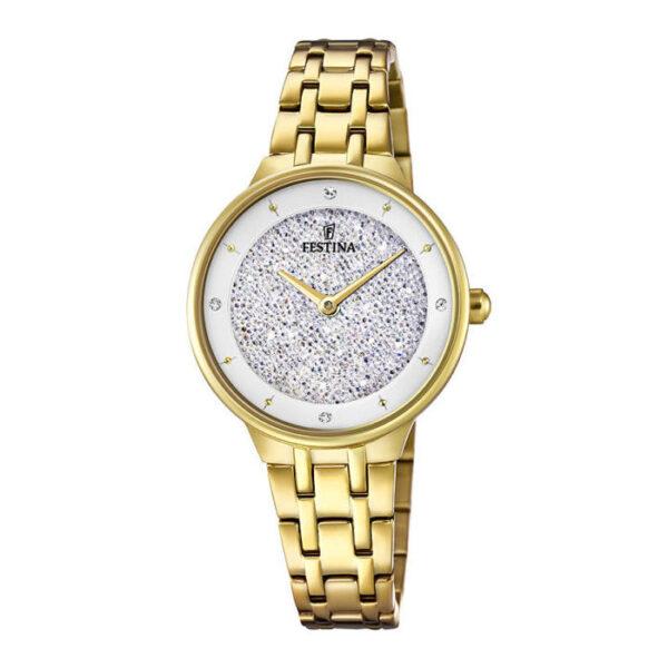 orologio festina donna mademoiselle acciaio dorato quadrante stardust polvere di stelle