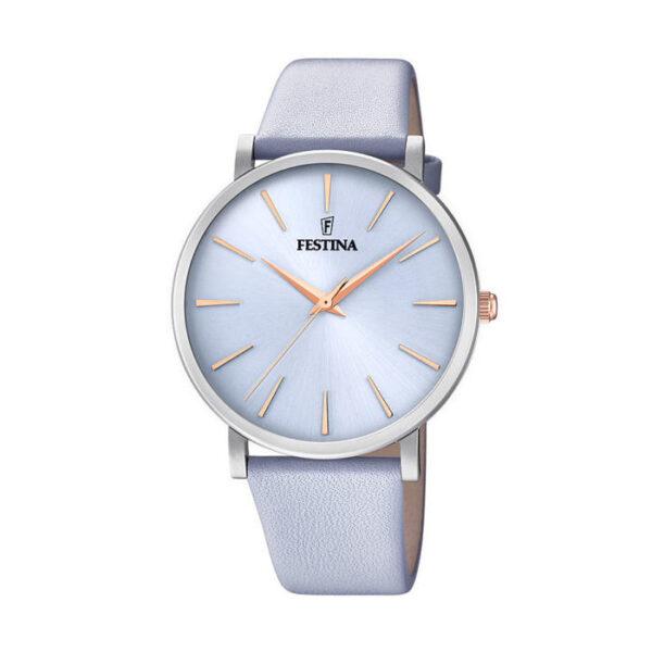 orologio festina donna mademoiselle acciaio pvd rosato cinturino in pelle lilla quadrante lilla solo tempo