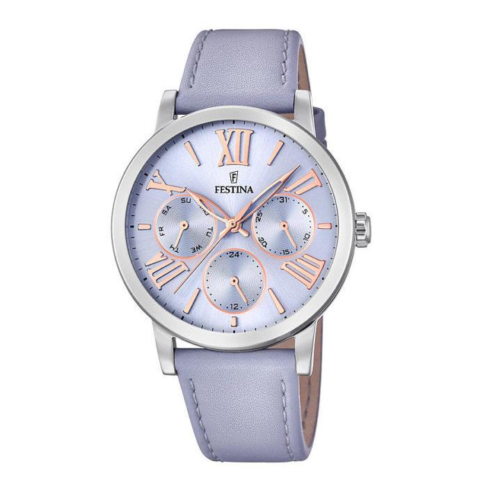 orologio multifunzione festina donna quadrante lilla cinturino pelle lilla