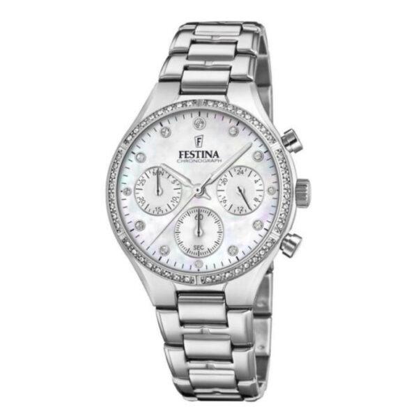 orologio festina donna boyfriend acciaio quadrante bianco madreperla zirconi chrono