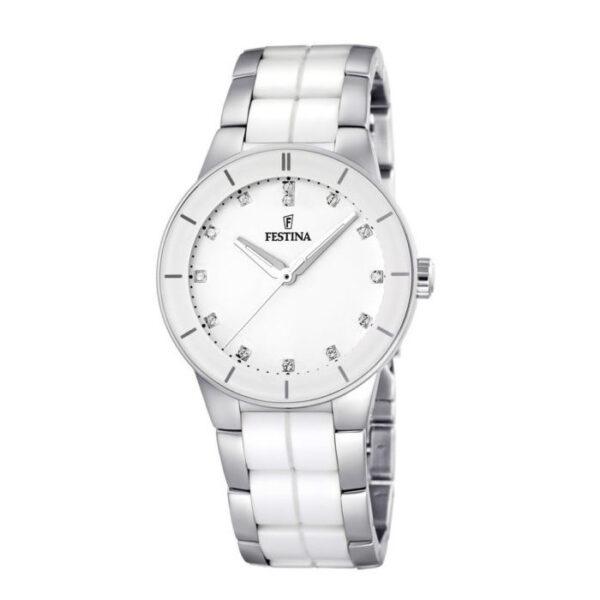 orologio festina donna acciaio ceramica bianca zirconi indici