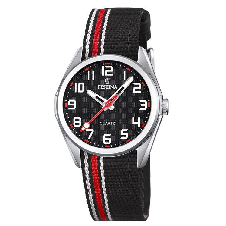 orologio festina junior bambino cinturino tessuto pelle nero rosso quadrante nero solo data