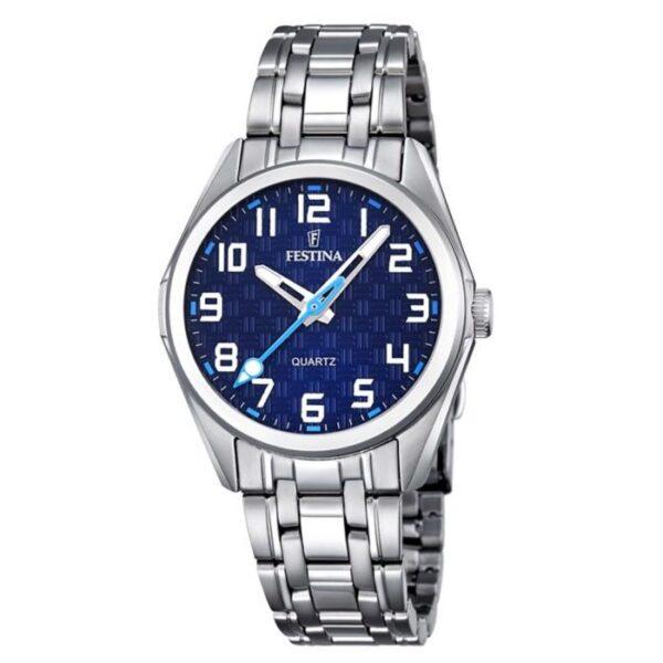 orologio festina junior acciaio quadrante blu solo tempo