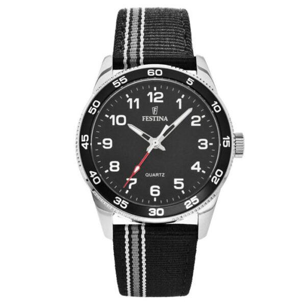 orologio festina junior quadrante nero cinturino tessuto nero grigio pelle solo tempo
