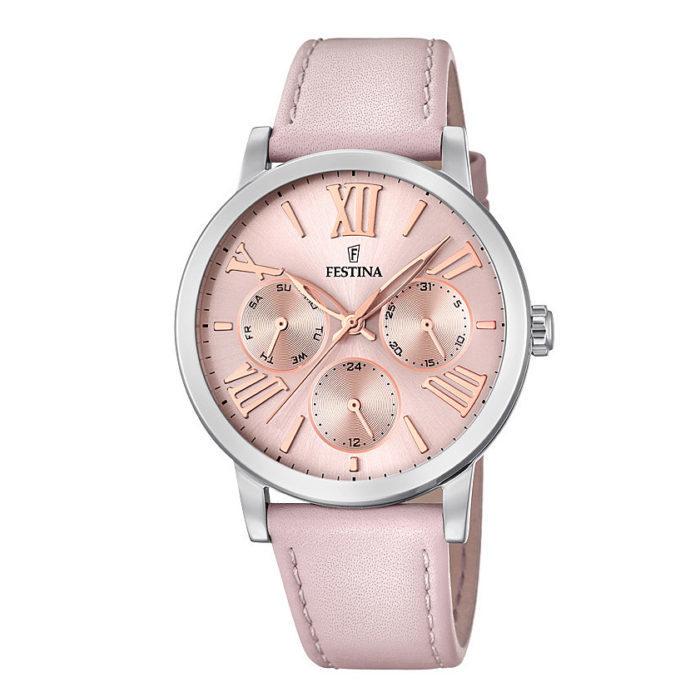 orologio multifunzione festina quadrante cinturino pelle rosa pvd rosato multifunzione