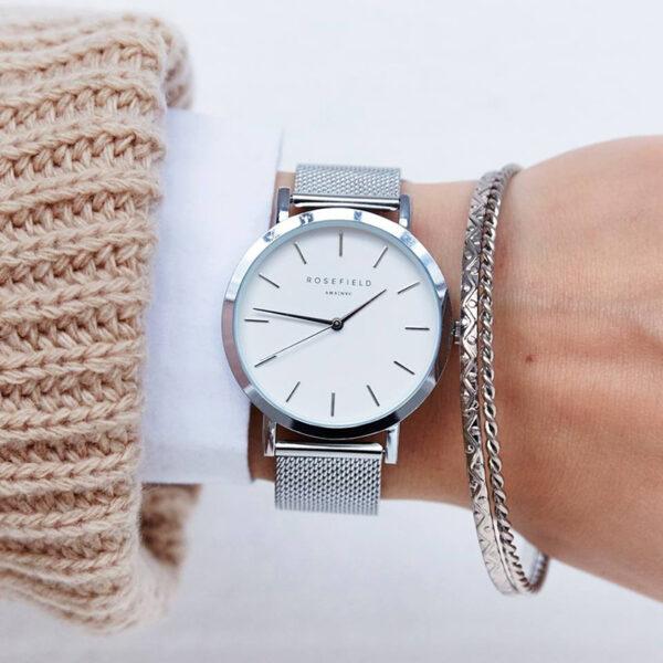 orologio rosefield unisex uomo donna acciaio tondo quadrante bianco solo tempo bracciale maglia milano