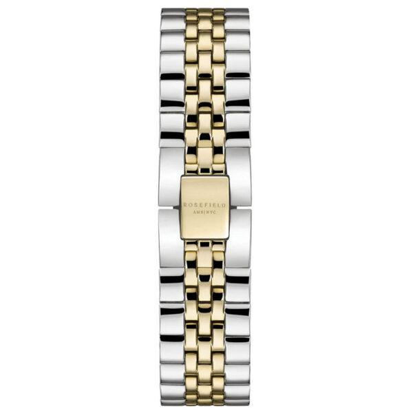 orologio rosefield acciaio the boxy bicolore pvd oro giallo rettangolare data