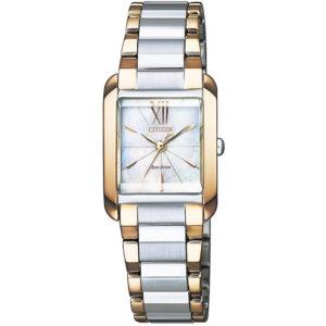orologio citizen donna acciaio bicolore quadrante madreperla bianca dettagli dorati rettangolare