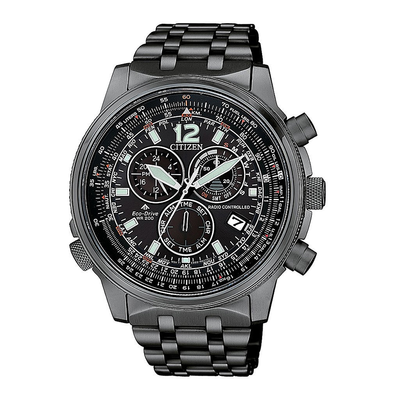 orologio citizen uomo acciaio nero quadrante nero chrono radiocontrollato