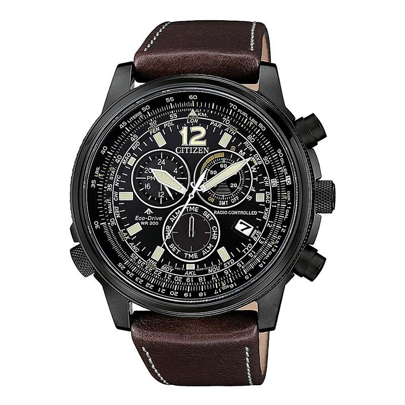 orologio citizen uomo ecodrive chrono radiocontrollato acciaio nero quadrante nero cinturino pelle nero