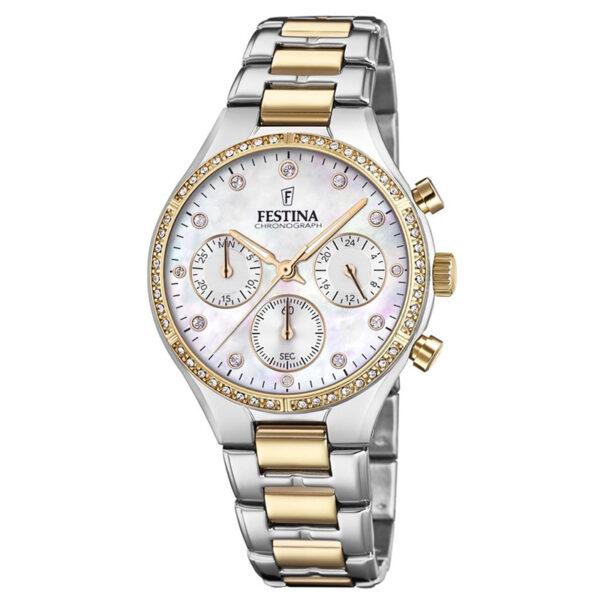 orologio festina donna chrono acciaio pvd dorato bicolore quadrante madreperla bianca zirconi