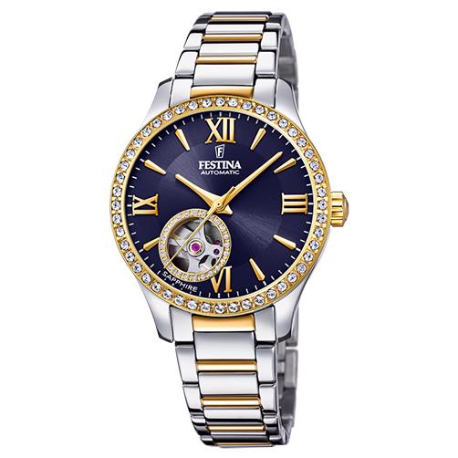 orologio automatico festina acciaio pvd giallo quadrante blu movimento in vista lady sapphire