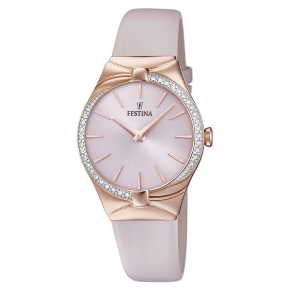 orologio festina donna acciaio rosato quadrante rosa cinturino pelle rosa