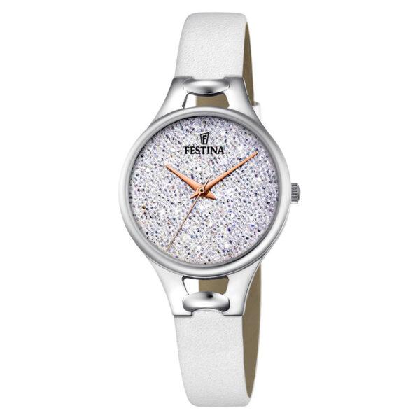 orologio festina donna acciaio cinturino pelle bianco quadrante swarovski cristalli pavè