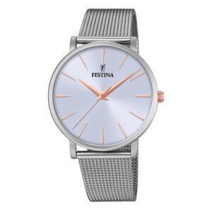orologio festina donna solo tempo acciaio maglia milano quadrante lilla pvd rosa