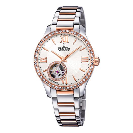 orologio festina donna automatico acciaio pvd rosato quadrante bianco zirconi movimento in vista