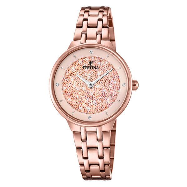 orologio festina donna in acciaio rosato quadrante rosa swarovski polvere di stelle