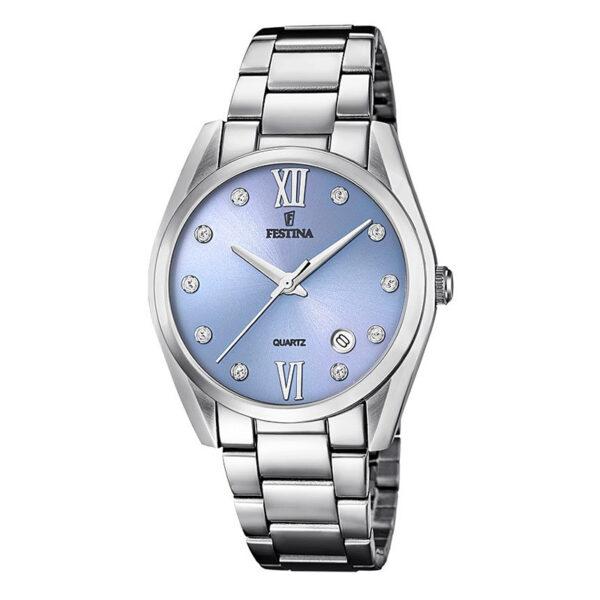 orologio festina donna solo tempo acciaio quadrante azzurro zirconi indici