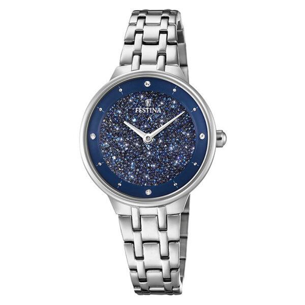 orologio donna festina solo tempo quadrante blu swarovski polvere di stelle