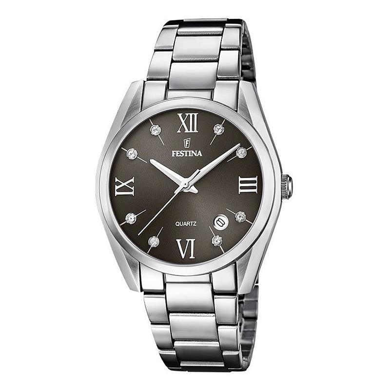 orologio festina donna acciaio quadrante nero zirconi indici