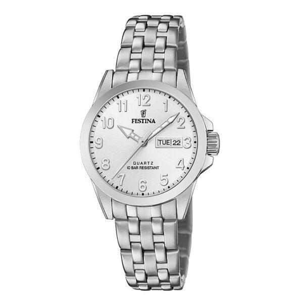 orologio festina acciaio quadrante bianco giorno data donna