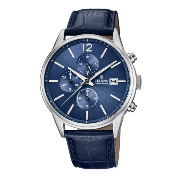 orologio festina uomo chrono acciaio quadrante blu cinturino blu pelle