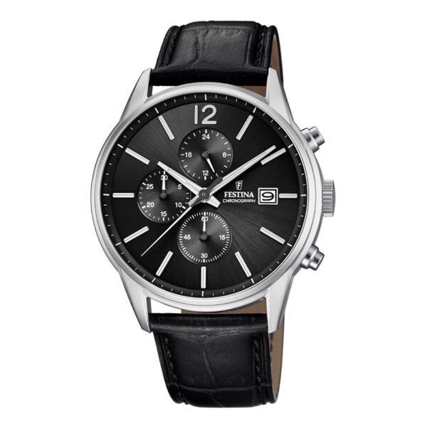 orologio festina uomo chrono acciaio cinturino nero pelle quadrante nero