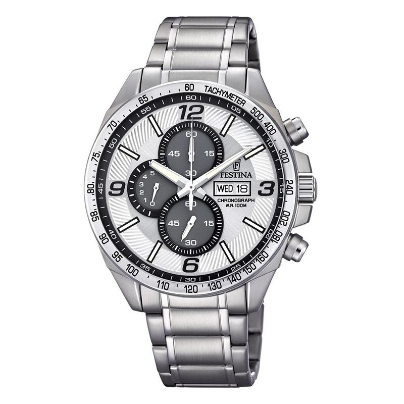 orologio cronografo festina uomo acciaio quadrante bianco