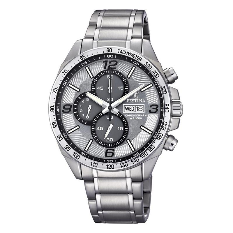 orologio festina uomo cronografo acciaio quadrante grigio