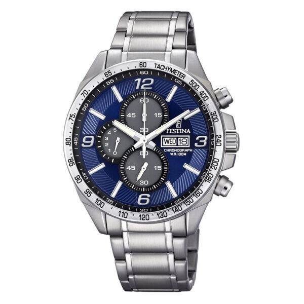 orologio festina uomo cronografo acciaio quadrante blu grigio