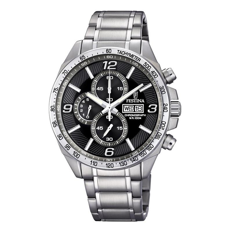 orologio festina cronografo uomo acciaio quadrante nero