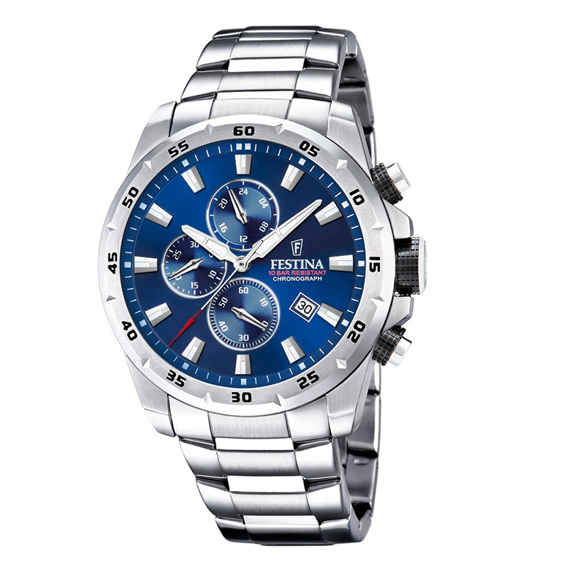 orologio chrono festina uomo acciaio quadrante blu