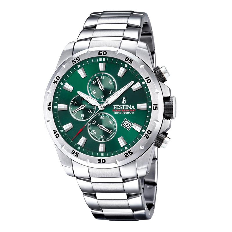 orologio festina chrono uomo acciaio quadrante verde
