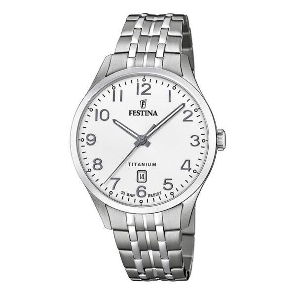 orologio uomo festina titanio quadrante bianco