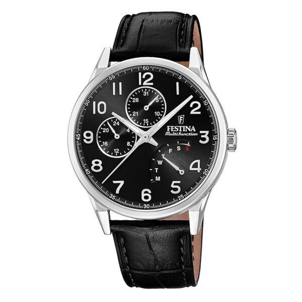 orologio uomo multifunzione festina acciaio nero cinturino pelle nero