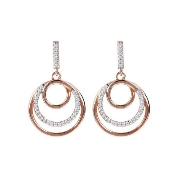 orecchini pendenti bronzallure rosegold tre cerchi zirconi