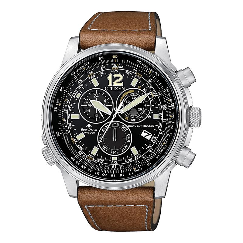orologio citizen uomo acciaio chrono radiocontrollato ecodrive quadrante nero cinturino pelle marrone
