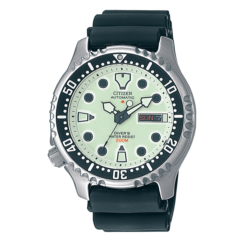 orologio citizen promaster automatico acciaio quadrante giallo cinturino gomma nero