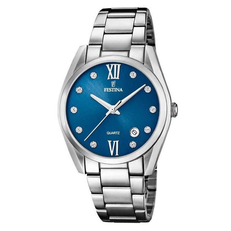 orologio festina donna acciaio quadrante blu zirconi indici data