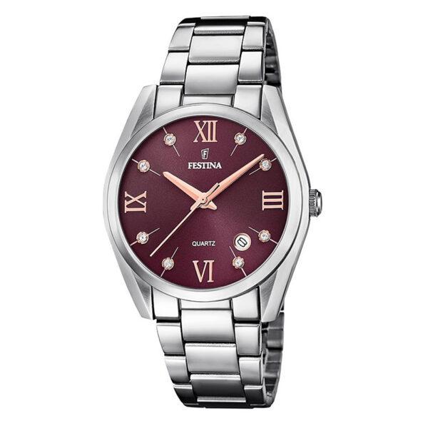 orologio festina donna acciaio quadrante bordeaux viola zirconi indici pvd rosa data
