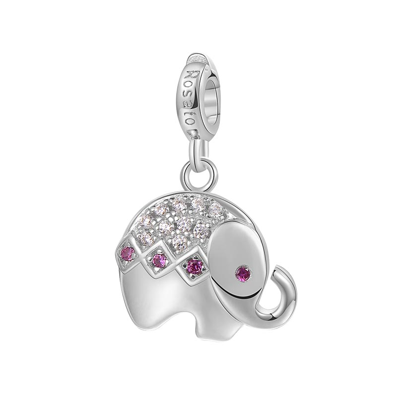 charm rosato storie argento rodio elefante zirconi bianchi viola