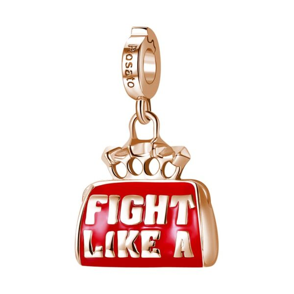 charm rosato storie argento rosa fight like a girl borsa borsetta bag tirapugni fashion