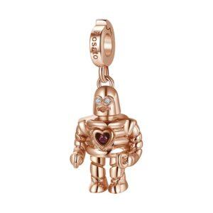 charm rosato gioielli argento rosa robot rob mantic zircone rosso
